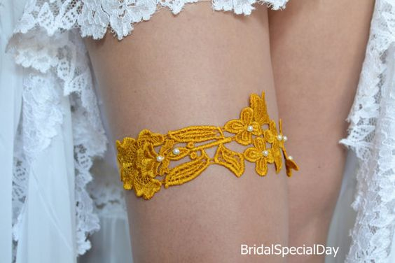 Orange Garter Wedding Garter Set Lace Bridal by BridalSpecialDay
