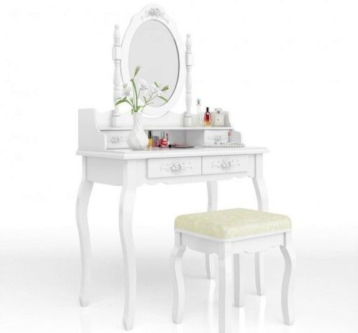 Toaletka Kosmetyczna Taboret Rozyczki Biala 7056778382 Oficjalne Archiwum Allegro Dressing Table With Stool Wooden Makeup Vanity Furniture