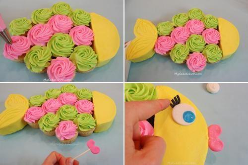 Tarta de cumpleaños, delicioso pez de colores a base de cupcakes