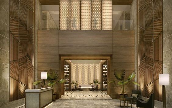 I like the idea of floor to ceiling panels to heighten the - Balance in interior design ...