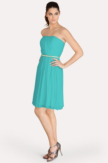 a thin gold belt accents this strapless blue and green
