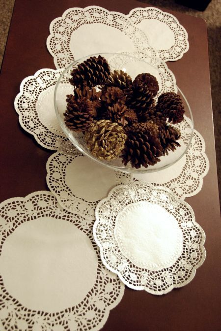 Christmas Craft Ideas With Paper Doilies : Paper doily table runner cent store craft dollar tree