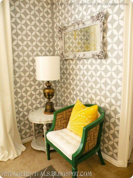 Gray and White Trendy Stenciled Walls - Royal Design Studio Endless Moorish Circles Moroccan Wall Stencils