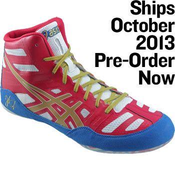 ASICS Jordan Burroughs JB Elite Wrestling Shoes Green/Gold/White ...