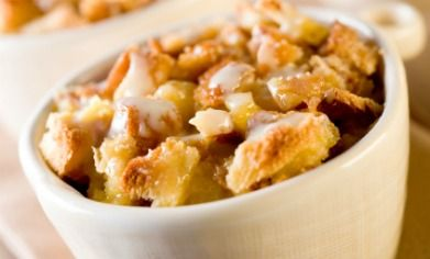 Bread Pudding with Warm Honey Yogurt Topping
