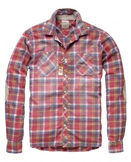 CHECKERED LONG-SLEEVED SHIRT WITH ELBOW PATCHES