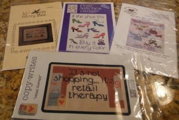 SHOES and SHOPPING Cross Stitch Patterns Set of 4