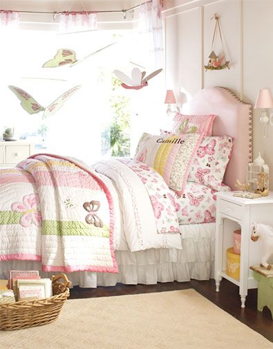 Make this hanging thing over bed:  Simple stick tied with rope. Secure wooden craft birdhouse and bird or owl