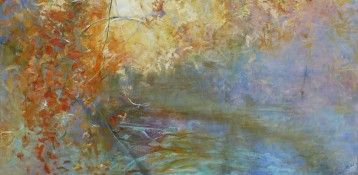 Water and Tree, 24  x  48, oil on canvas