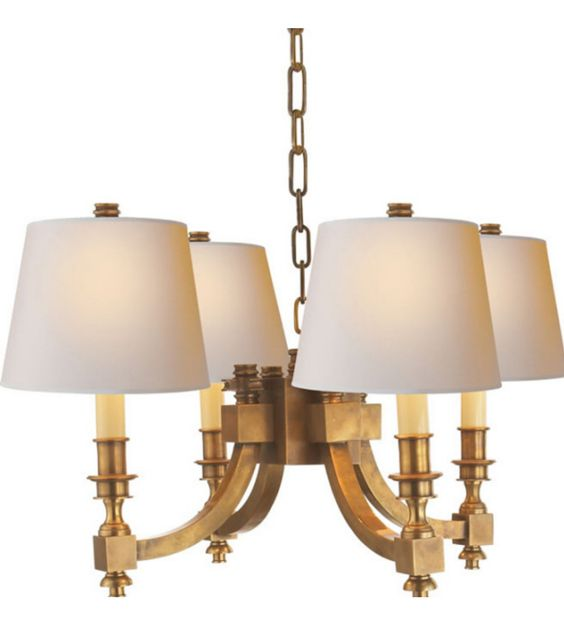 Visual Comfort MS5020HAB-NP Michael S Smith Eiffel Chandelier in Hand-Rubbed Antique Brass with Natural Paper Shades