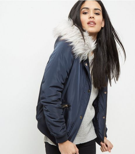 Navy Faux Fur Trim Hooded Bomber Jacker | New Look