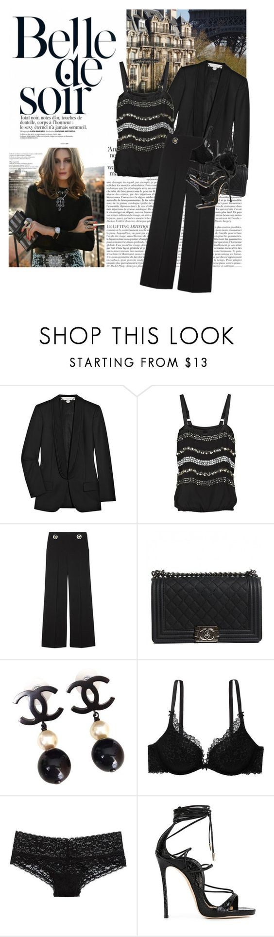 """Untitled #1746"" by hellohanna ❤ liked on Polyvore featuring STELLA McCARTNEY, By Malene Birger, Chanel, American Eagle Outfitters, Aerie, Dsquared2 and Yves Saint Laurent"