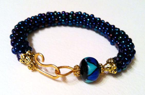 Baroque Irridescent Sapphire (7 inch) Bangle Bracelet $48.00