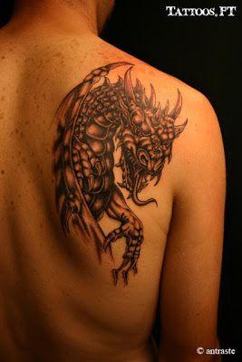 Fotos de Tatuagens: Dragão preto e branco