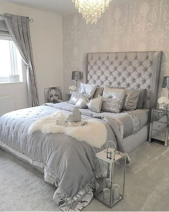 Glamour And Luxury Silver Bedroom Interior Design Bedroom Small