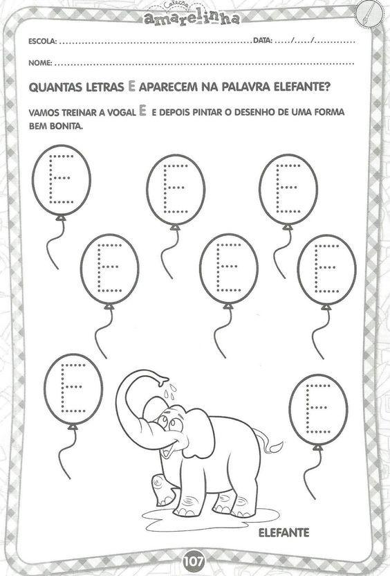 Alfabetizacao Atividades Para Trabalhar As Vogais Com Imagens