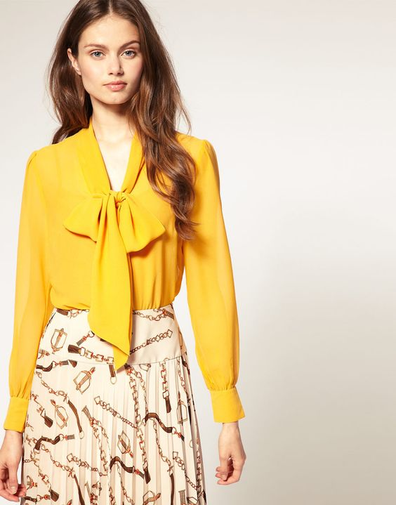 Yellow Bow Tie Blouse 66