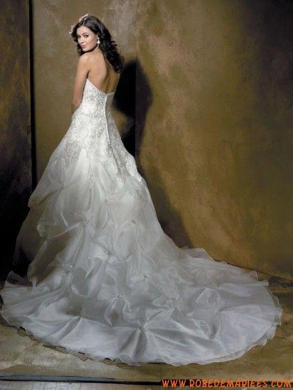 Robe de mariée de luxe avec traîne broderie organza