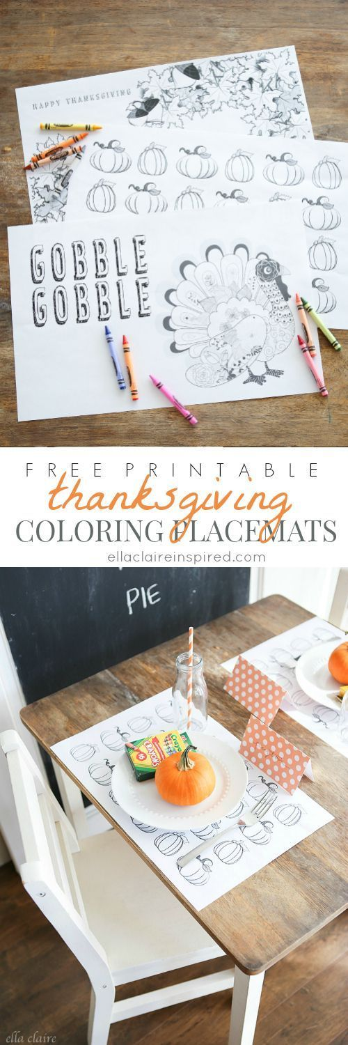 Perfect for the kids table! Free Printable Thanksgiving Coloring Placemats by Ella Claire.: