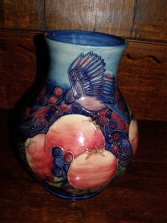Moorcroft Sally Tuffin Design Finches Large Vase - Ca. 1988