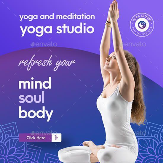 Yoga Banner Pack Ad Yoga Affiliate Banner Pack Banner Social Media Post Facebook Cover