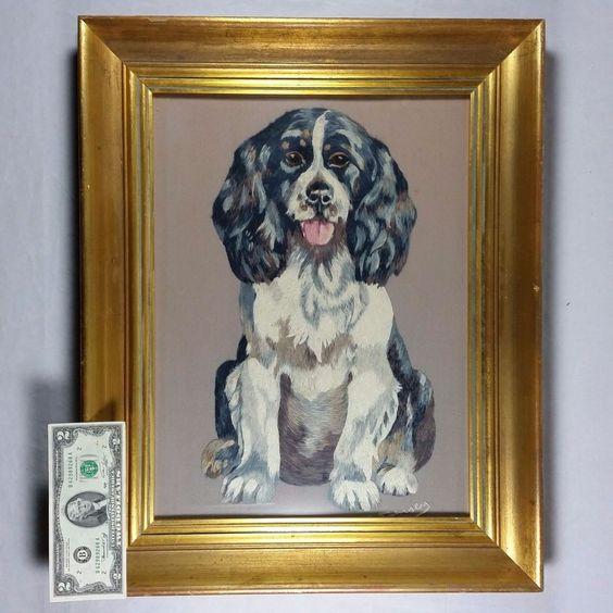 Large Vintage Cavalier King Charles Spaniel Hunting Lab Dog: Framed Needlepoint #Unbranded