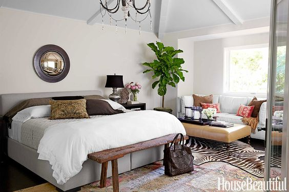 White walls, powder blue ceiling: