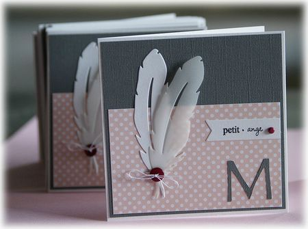 handmade birth announcement card ... deep gray and pink ... two die cut feathers ... one in white cardstock ... the second in vellue ... die cut monogram letter in the corner ... like this card!!