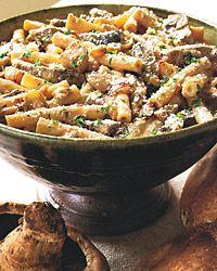 Ziti with Portobello Mushrooms, Caramelized Onions, and Goat Cheese.