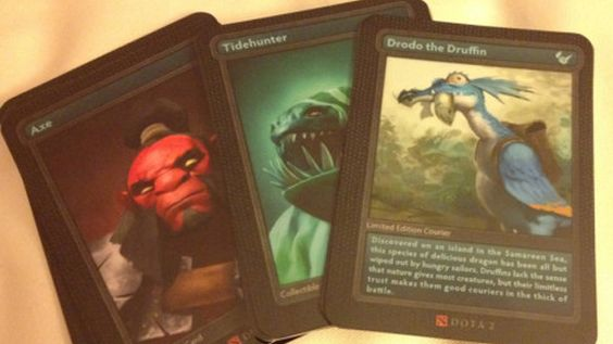 Dota 2 trading cards and figures spotted at Valve HQ