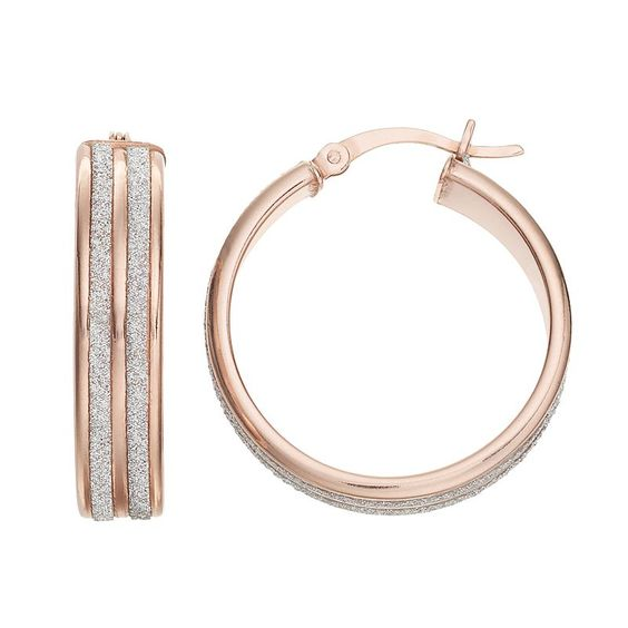 Sterling Silver Glitter Hoop Earrings, Women's