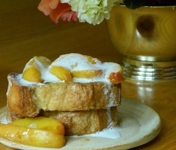 Peaches n' Cream French Toast. Wisk 2 eggs, 1/3 cup milk, tsp vanilla ...