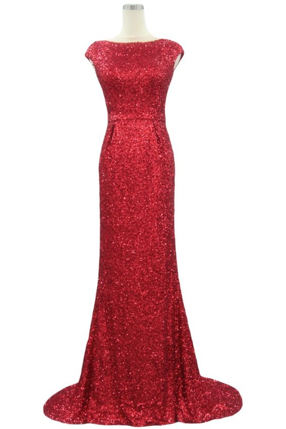 Sunvary Mermaid Sequin Evening Prom Gowns for Mother of the Bride Bridesmaid Dresses Formal US Size 2- Red