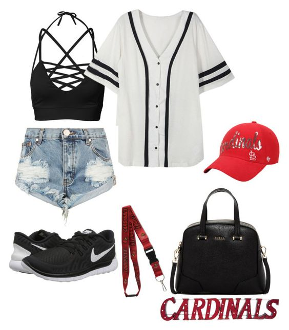 """St. Louis Cardinals!!"" by cece02 ❤ liked on Polyvore featuring One Teaspoon, NIKE, '47 Brand and Furla"