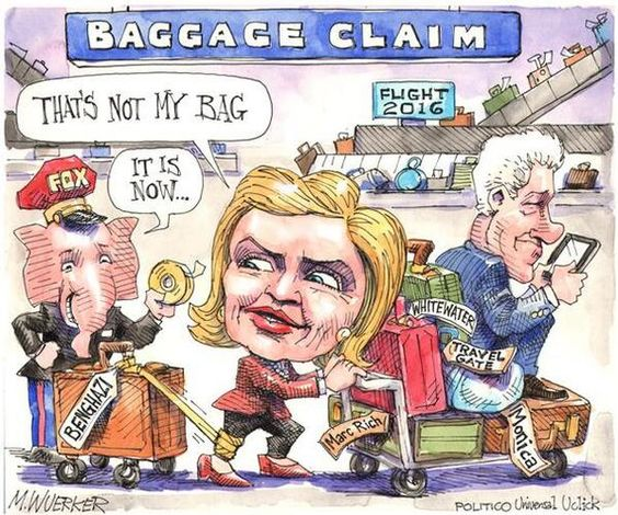 Image result for pics of clinton having too much baggage