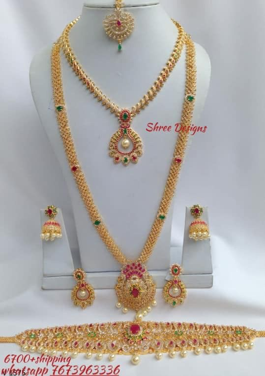 Whatsapp 7673963336 To Buy Onegram Weddingjewellery Haram Necklace Hipbe Wedding Jewelry Sets Bridal Jewellery Pretty Gold Necklaces Gold Jewelry Fashion
