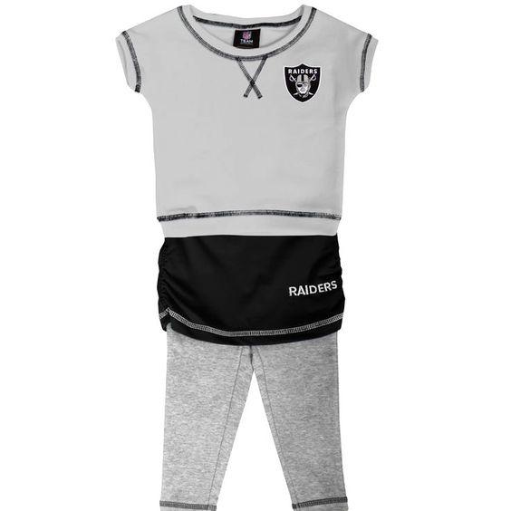 Oakland Raiders Preschool Girls 2-Piece Crew T-Shirt & Leggins Set - Ash/Black - $27.99