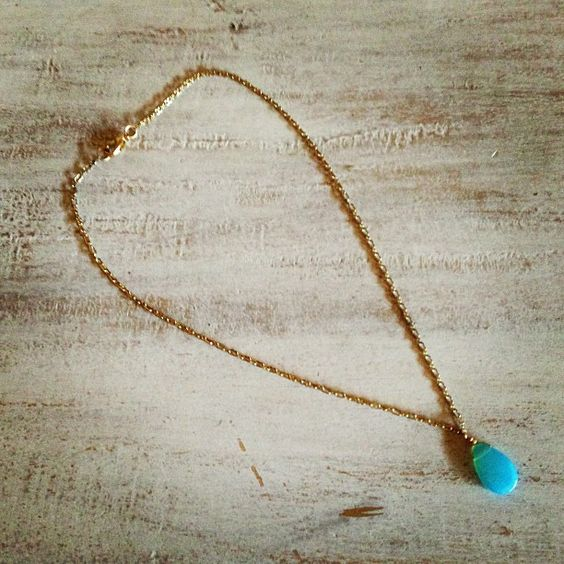 Simple & elegant, dress it up or dress it down - 16 inch gold chain with teardrop sky blue stone. By @Leesa Rumore #lucysboutique13 #teardropstone