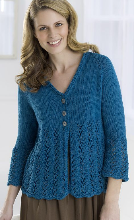 Free Knitting Pattern for Cardigan to Love - Linda Cyr's cardigan sweater features flared lace skirt and sleeve hems. Sizes S,M,L,1X,2X