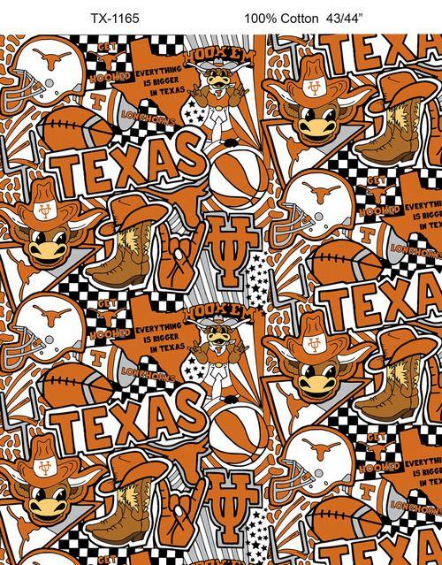 University Of Texas Longhorns Pop Art Graffiti Print Cotton Fabric Sold By The Yard Texas Longhorns University Of Texas Graffiti Designs