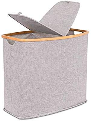 Amazon Com Birdrock Home Divided Bamboo Canvas Hamper Double