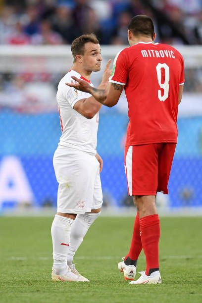 Aleksandar Mitrovic Of Serbia Argues With Xherdan Shaqiri Of Switzerland During The 2018 Fifa World Cup Russia Group E Match Between Fifa Fifa World Cup Serbia