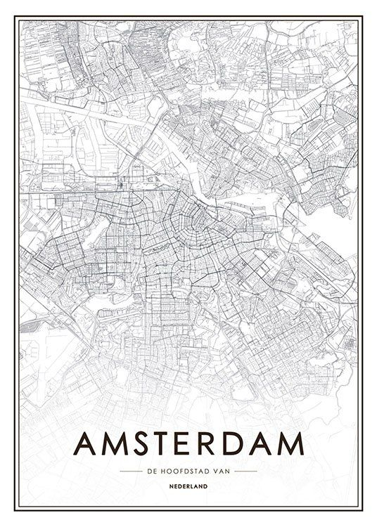 Amsterdam Map Affiche Amsterdam Map Map Poster London Poster