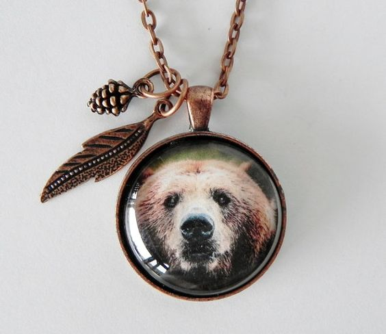 Hunting Jewelry Grizzly Bear Necklace Bear by HoovesHornsWingsPaws