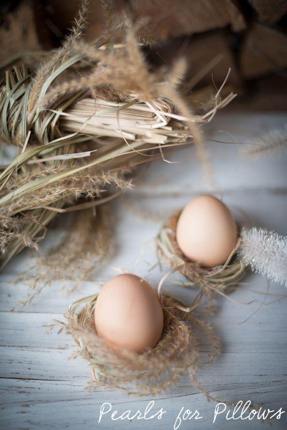 Easter decoration #easter #decoration #dekoration #ostern #eier #nest #pampasgras #pampas #grass #diy #sleek #schlicht #zurückhaltend #hell