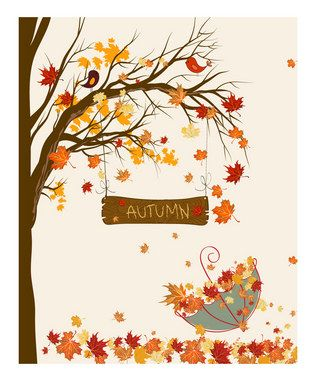 Autumn Art, love the two cute lil birdies in the tree!: