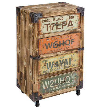 Móvel 4 gavetas Vintage em madeira 83x51x34