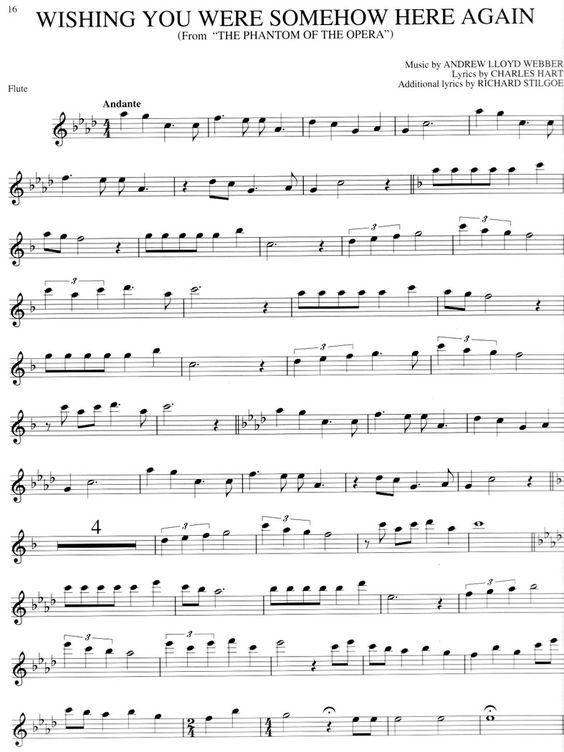 The Phantom Of The Opera Free Flute Sheet Music Omg I Need To