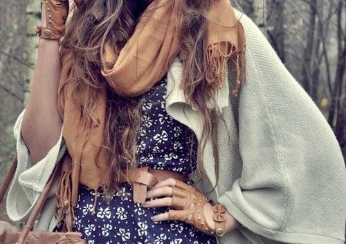 Cozy sweaters, big scarves, layers.