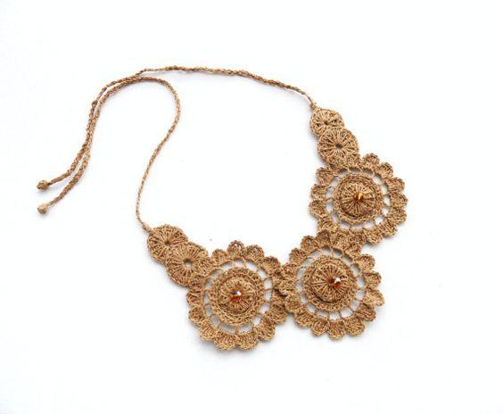 Crochet Necklace Choker Natural Linen Necklace by CraftsbySigita